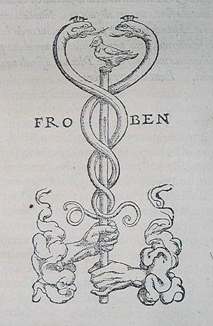 Caduceus as a symbol of medicine - The printer's device of Johann Froben.