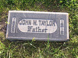John W. Taylor (Mormon) - Grave marker of John W. Taylor.