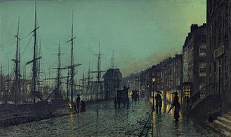 Industrial Revolution in Scotland - Shipping on the Clyde, by John Atkinson Grimshaw, 1881