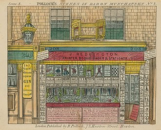 "Benjamin Pollock's Toy Shop - Redington's shop on Hoxton Street as depicted on a ""twopence coloured"""