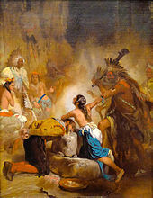 A painting of a young dark-haired Native American woman shielding an Elizabethan era man from execution by a Native American chief. She is bare-chested, and her face is bathed in light from an unknown source. Several Native Americans look on at the scene.