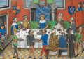 John of Gaunt, Duke of Lancaster dining with the King of Portugal - Chronique d' Angleterre (Volume III) (late 15th C), f.244v - BL Royal MS 14 E IV.png