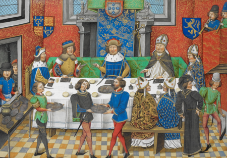 John of Gaunt dines with John I of Portugal, to discuss a joint Anglo-Portuguese invasion of Castile (from Jean de Wavrin's Chronique d'Angleterre) John of Gaunt, Duke of Lancaster dining with the King of Portugal - Chronique d' Angleterre (Volume III) (late 15th C), f.244v - BL Royal MS 14 E IV.png
