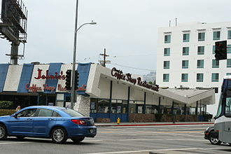 Googie architecture - Johnie's Coffee Shop on Wilshire Boulevard, Los Angeles, designed by Armet & Davis