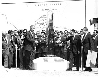 Adolfo López Mateos - U.S. President Lyndon B. Johnson (left) and Mexican President Adolfo López Mateos (right) unveil the new boundary marker signaling the peaceful end of the Chamizal dispute.
