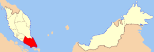 Map of Malaysia with Johor highlighted