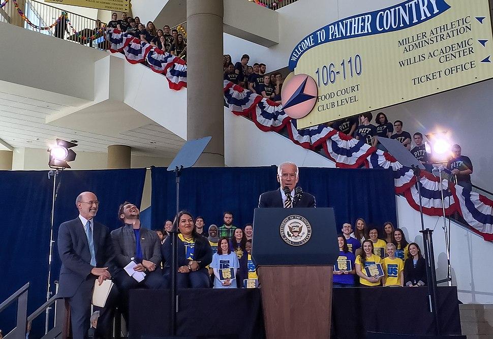 Joseph Biden speaking at the University of Pittsburgh