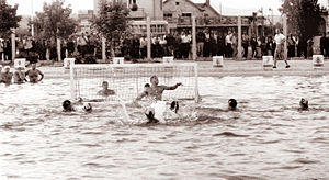 Yugoslavia men's national water polo team - Yugoslavia men's national water polo team in 1962 vs. Soviet Union in Celje