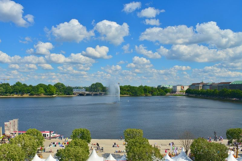 Binnenalster or Inner Alster Lake is one of two artificial lakes within the city limits of Hamburg, Germany.
