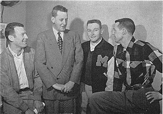 1952 Missouri Tigers baseball team - Coach Simmons (in suit) with All-American Wren, Boenker, and Kurtz