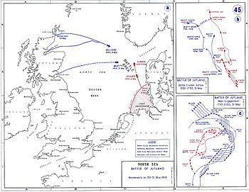 The British fleet sailed from northern Britain to the east while the Germans sailed from Germany in the south; the opposing fleets met off the Danish coast
