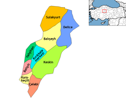Location of Kırıkkale within Turkey.