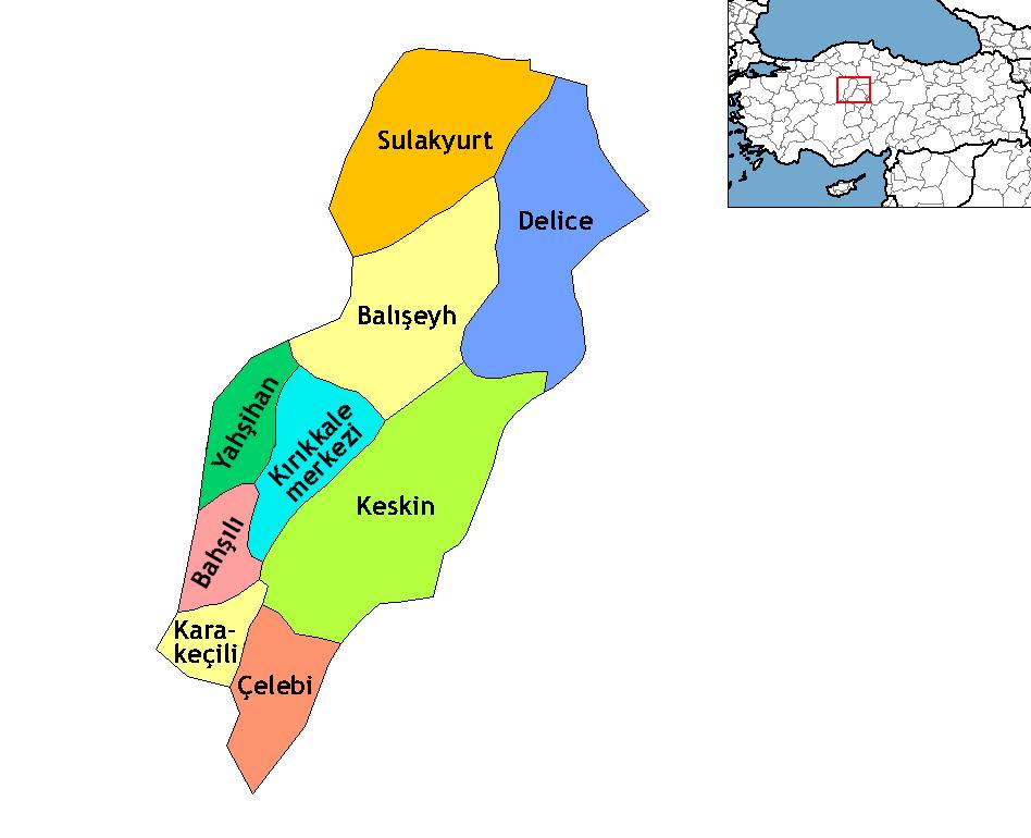 Kırıkkale districts