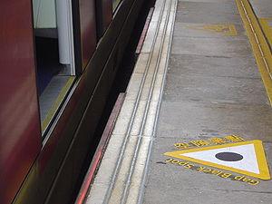 Platform gap - Significant vertical and horizontal platform gap at University Station on the MTR system in Hong Kong