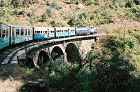 Passenger train on the Kalka-Shimla Railway route