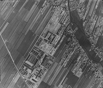 Neuengamme concentration camp - Aerial shot of the Neuengamme camp taken by British aviation on 16 April 1945