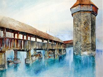 Kapellbrücke - Painting by John Ruskin in 1861, Pencil, watercolour and bodycolour