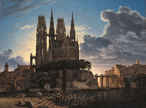 Karl Friedrich Schinkel - Medieval Town by Water - WGA21002