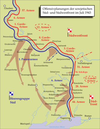 Donbass Strategic Offensive (July 1943) - The Soviet plan for the Donbass Offensive (in German)