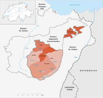 Karte Kanton Appenzell Innerrhoden Bezirke 2010