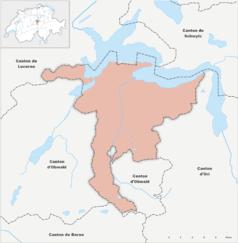 """Mapa konturowa Nidwalden, w centrum znajduje się punkt z opisem """"Stans"""""""