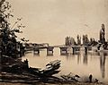 Kashmir; a bridge over a wide river, with small boat and Wellcome V0037789.jpg
