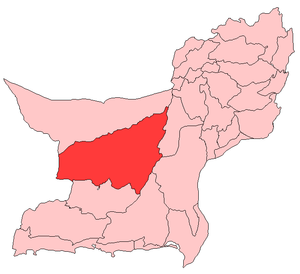 Map of Balochistan with Kharan District highlighted