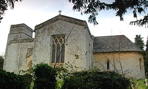 Kiddington - St Nicholas' parish church from the south. On the right is the Norman Revival apsidal chancel designed by G.G. Scott.