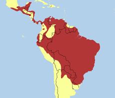 Mapa de distribución de Sarcoramphus papa.