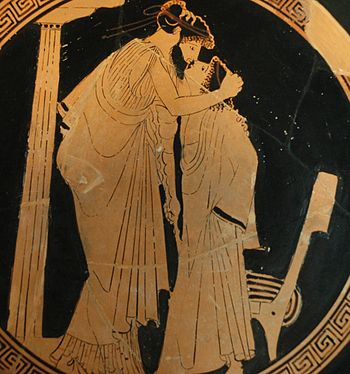 Erastes (lover) and eromenos (beloved) kissing...