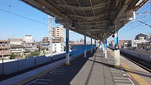 Kita-Asaka Station - The completed platform extension in December 2015