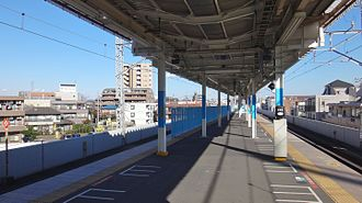Kita-Asaka Station - The completed platform extension in December 2015