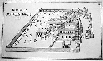 Amorbach Abbey - Likely appearance of the abbey, c. 1735