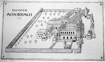 Drawing of the Amorbach monastery after its 1000th anniversary in 1735