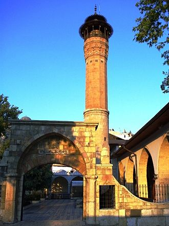 Kahramanmaraş - The minaret of Grand Mosque of Kahramanmaras (Kahramanmaraş Ulu Camii), one of the city's many historic mosques