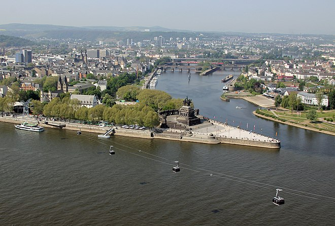 Monument to Kaiser Wilhelm, at Koblenz, where the Moselle River (upper river) meets the Rhine River (lower river), called the Deutsches Eck, or the German corner.
