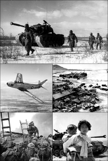 Montage of black and white photographs from the Korean War.  Clockwise from top: U.S. Marines (with armoured vehicle) retreating; U.N. landing at Incheon harbor; Korean refugees (woman and child) in front of an American tank; U.S. Marines landing at Incheon; F-86 Sabre fighter aircraft.