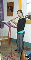 Kristen Swartley on flute Our Community Place Harrisonburg VA January 2009.jpg