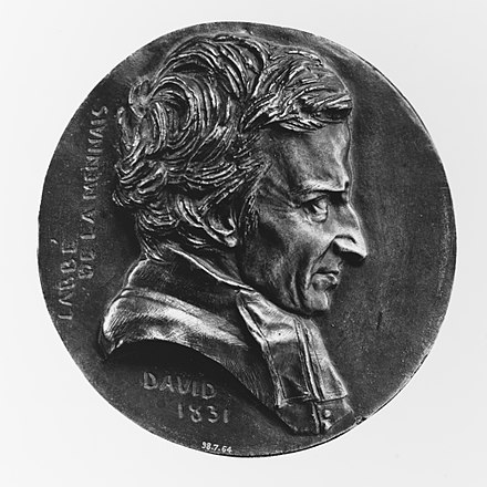 Medallion featuring de Lamennais, dating from 1831 L'Abbe (Felicite Robert) de Lamennais (1782-1854), French ecclesiastic and theorist MET 265837(2).jpg