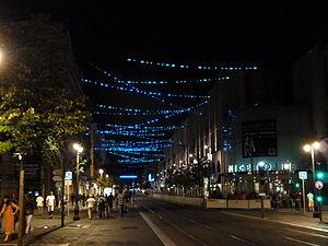 Yann Kersalé - L'amorse du bleu, installation on Avenue Jean Médecin in Nice