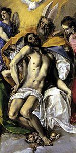 Detalle de la Trinidad (1577-79). Este cuadro formaba parte del retablo mayor de Santo Domingo el Antiguo, su primer gran encargo en Toledo. Es notoria la influencia de Miguel Ángel.