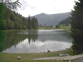 Lac de Morgins lake in Valais, Switzerland