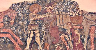 "History of the Székely people - Fresco depicting the legendary fight of King Saint Ladislaus's with the ""Cuman"" in the church of Székelyderzs (now Dârjiu in Romania)"
