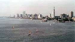 Lagos Island as seen from the harbour near Victoria Island.