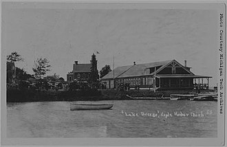 Eagle Harbor, Michigan - Lake Breeze Hotel with the Eagle Harbor Light in the background.