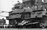 Landing mishap of F8F-1 of VBF-18 on USS Leyte (CV-32) in 1946.jpg