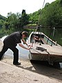 Launching the hand ferry at Symonds Yat East - geograph.org.uk - 797643.jpg