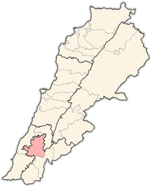 Salient (geography) - Location of Nabatieh District within Nabatieh Governorate, Lebanon.