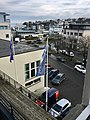 Leirvik, Stord, Norway, seen from Grand Hotell. Harbour, Samson på Kaien, Oma Slipp Sjøhuset, Bytunet, cars in Osen, etc. 2018-03-09 a.jpg