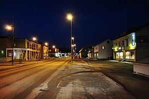 Leknes - Main street of Leknes by night